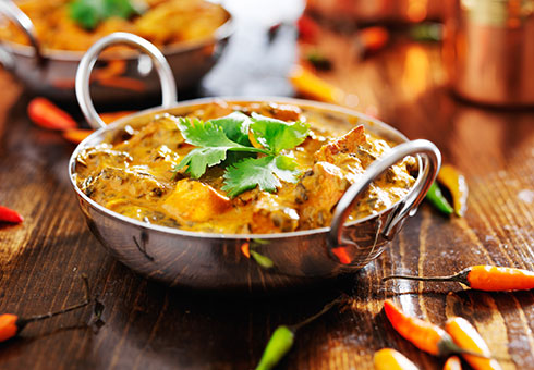 New Ajanta Ebbw Vale creamy chicken breast chunk curry served in a balti dish