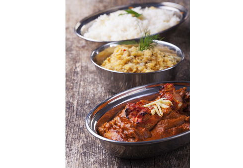 New Ajanta Ebbw Vale delicious meal including chicken tikka masala and two side dishes
