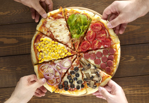 pizza with multiple toppings. Italian Pizza Factory, Birmingham