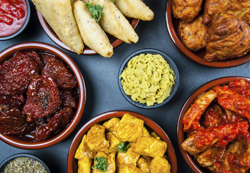 Variety of Starter dishes at Twickenham Tandoori