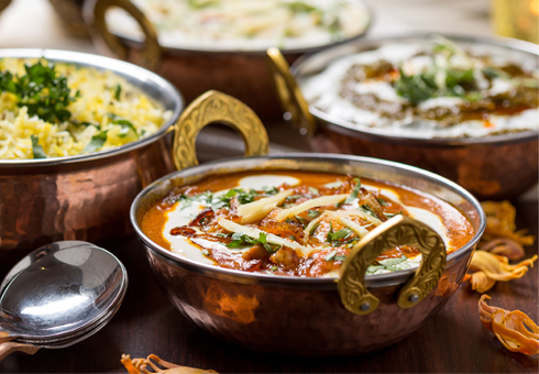 Variety of Indian Dishes. Shapla Balti Cuisine