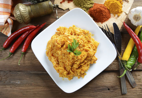 delicate and tasty rice with fresh ingredients