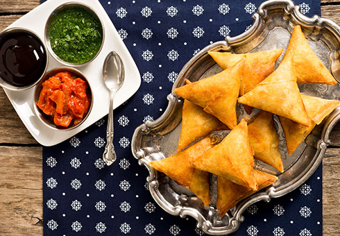 Dining Room Birstall crispy vegetable samosas with traditional accompaniments