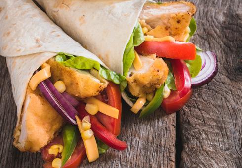 Marios Pizzacasa Studley chicken wrap with fresh salad