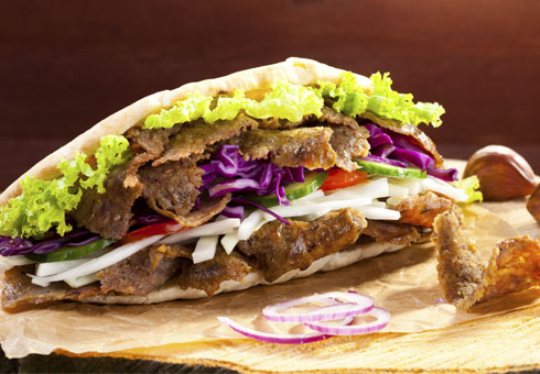 The Greville Solihull deep filled doner meat served in a pita with sauce and fresh salad