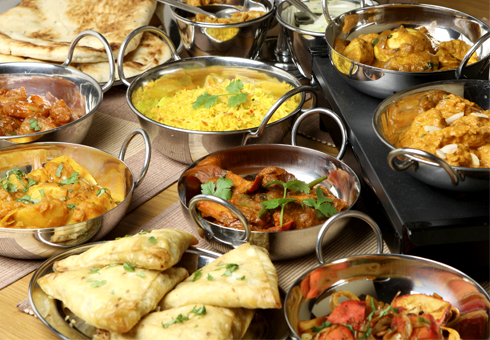 banquet of indian dishes. Akash Southfields indian