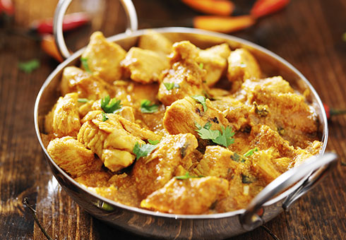 Bombay Spice Leith creamy chicken curry served in a balti dish
