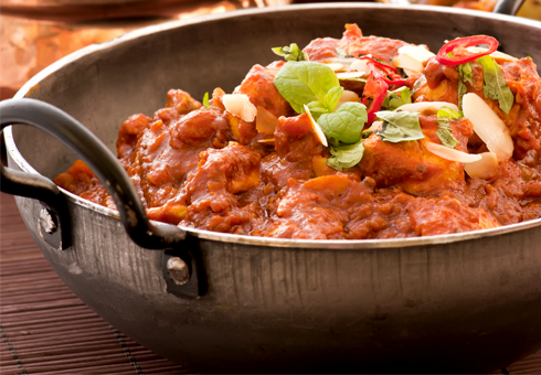 Freshly prepared authentic Indian Curry at Spice Island, Bangor
