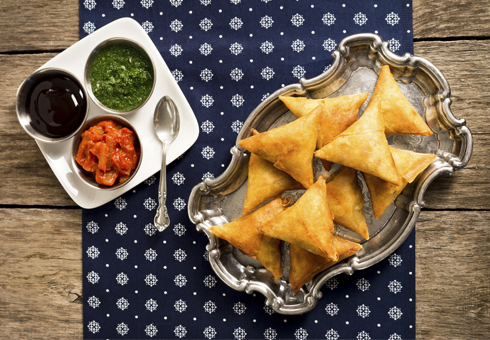 Freshly Made Samosas and Chutneys. Indian Restaurant. BeJoy, London.