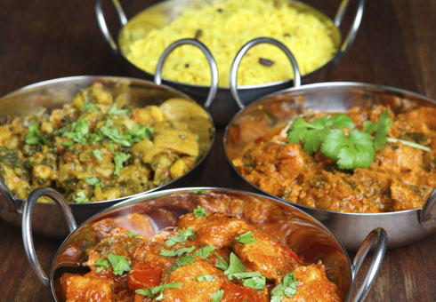 Variety of Indian Dishes. Balti Hut, Birmingham