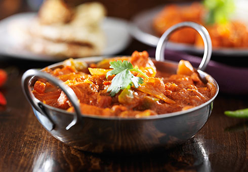 Freshly cooked Chicken balti dish. Indian Ocean, Acomb