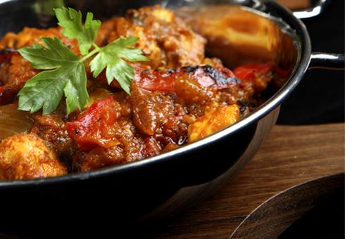Freshly prepared hot Balti dish. Indian Ocean, Acomb.